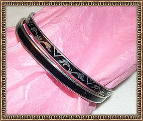 Vintage Art Deco Sterling Silver Bangle Bracelet Duo
