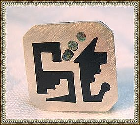 Sterling Silver Taxco Mexico Ring Sandwiched Horn AAB