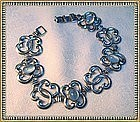 Vintage W R E Sterling Bracelet Blue Moonstone Glass