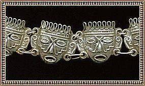 "Vintage Mexico Sterling Aztec Mask Face Bracelet ""EME"""