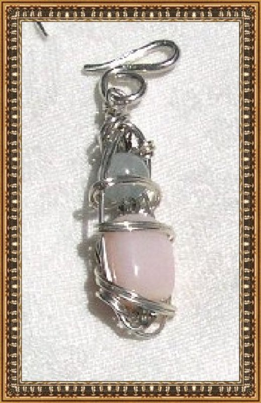 MIMI DEE Sterling Silver Pendant Pink Opal Aquamarine