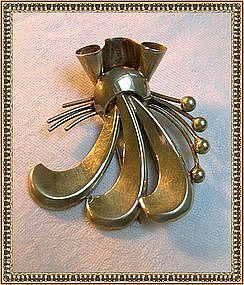 Sterling Silver Gold Vermeil Napier Fur Clip Mod Retro