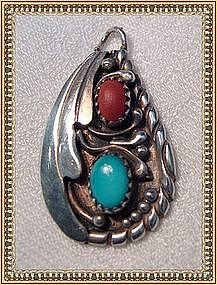 Vintage Sterling Silver Pendant Coral Turquoise Yazzie