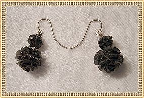 Vintage Antique Mid Victorian Carved Black Jet Earrings