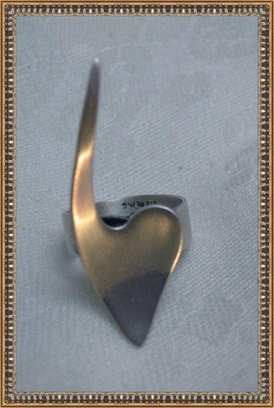 """Vintage Modernist """"ORB"""" Sterling Silver Heart Ring"""