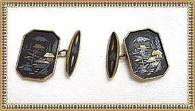 Signed Amita Japan Damascene Cufflinks Cuff Links