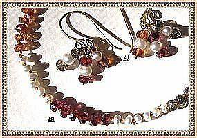18K Gold Multi Color Sapphire Pearl Earrings - Bracelet