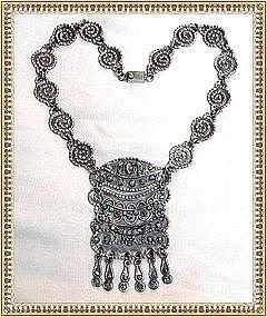 Vintage MATL Like Sterling Silver Medallion Necklace