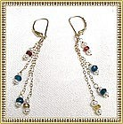 14K Gold Fancy Sapphires Apatite Pearl Earrings by
