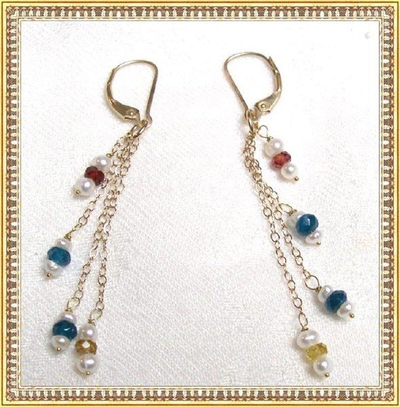 14K Gold Fancy Sapphires Apatite Pearl Earrings by