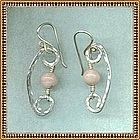 MIMI DEE Sterling Hammered Earrings Rhodocrosite