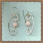 MIMI DEE Sterling Hammered Earrings Rhodocrosite