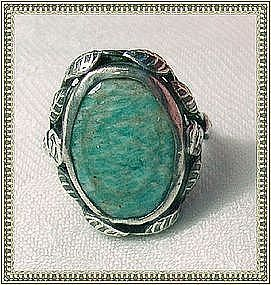 Vintage Art Deco Nouveau Arts Crafts Sterling Silver Leaf Ring