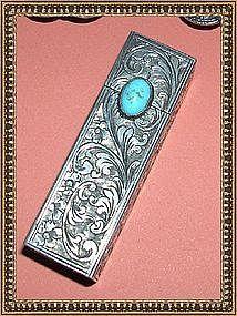 Vintage Peruzzi 800 Silver Lipstick Ornate Case Cab