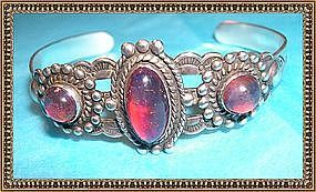 Vintage Sterling Bracelet Cuff Jelly Opal Glass Dragon's Breath