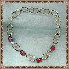 Vintage Sterling Necklace Jelly Opal Art Glass Dragon's Breath
