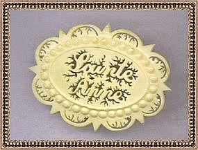 "Victorian Carved Pierced Bone Pin  ""Sainte Anne"" ""C"""