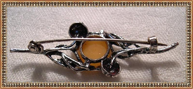 Vintage 800 Silver Pin Brooch Butterscotch Amber Marks