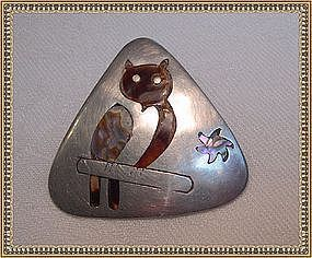 Vintage Sterling Mexican Pin Tortoise Inlay Owl Abalone