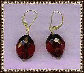 MIMI DEE 14K Gold Cherry Red Bead Earrings