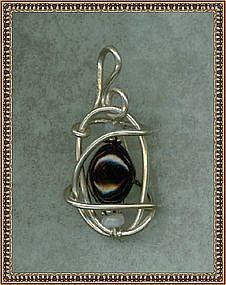 MIMI DEE Pendant Red Garnet Moonstone Sterling Silver