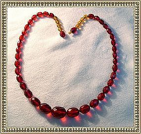Early Vintage Red Cherry Amber Choker Necklace Faceted