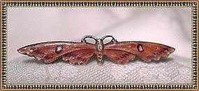 Watson Sterling Butterfly Moth Pin Brooch Enamel c 1900