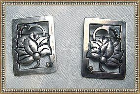 "Vintage Arts Crafts Sterling Pin Pair Signed ""CW""  ""WC"""