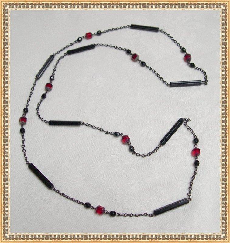 Vintage Art Deco Glass Necklace Japanned Black & Red