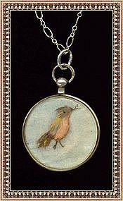 Vintage Antique F & B Sterling Silver Necklace Bird