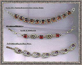 Vintage Signed Sterling Bracelet Trio Art Deco PR. ST.