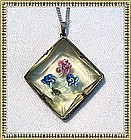 Vintage Art Deco Filigree Vaseline Yellow Glass Pendant Czech