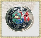 Vintage Modernist Silver Pin Enamel Book of Kells Motif