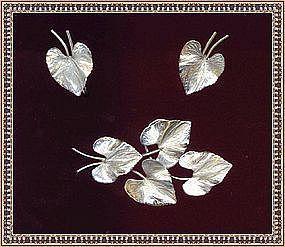 Vintage Sterling Silver Rhodium Leaf Pin Earrings Set