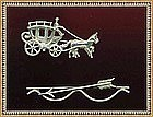 Vintage Sterling Silver Pin Beau Bow Arrow Carriage Duo