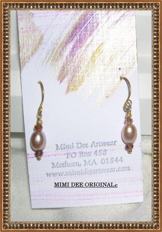 18K Gold Pink Pearl Earrings Pink Sapphires