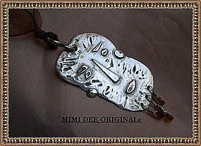 Silver Signed Studio MIMI DEE Man Face Pendant Necklace