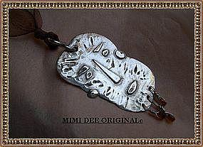 Silver Signed Studio MIMI DEE Man Face Pendant Necklace