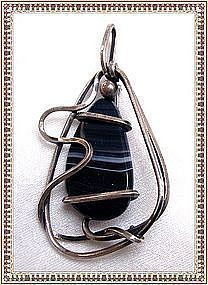 Vintage Modernist ORB Pin Pendant Sterling Banded Agate  Amethyst