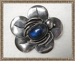 Vintage Mystery Reward Sterling Silver Pin Bug Flower Blue Cab