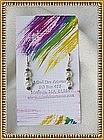 Signed MIMI DEE 14K Gold Earrings Pearl Green Sapphire