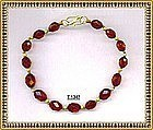 18K Gold Red Cherry Bracelet Faceted Knotted