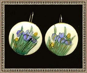 Vintage Satsuma Earrings Iris Blue Gold