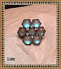 Vintage Antique Victorian Saphiret Pin Brooch Art Glass