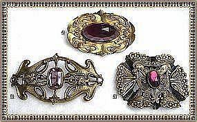Vintage Art Nouveau Sash Buckle Pin Ornament Trio Glass