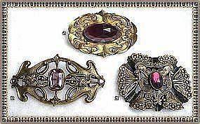Vintage Art Nouveau Sash Buckle Pin Ornament Trio Glass
