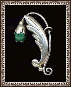 Vintage Damaso Gallegos Sterling Silver Pin Green Stone
