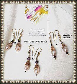 13 mm Pink Peach Pearl Earrings 22K Vermeil Sterling