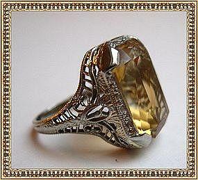 Vintage Edwardian Gold Ring 14K White Gold Citrine