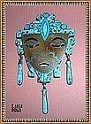 Vintage Mexican Enamel Face Sterling Silver Pin mrk JP